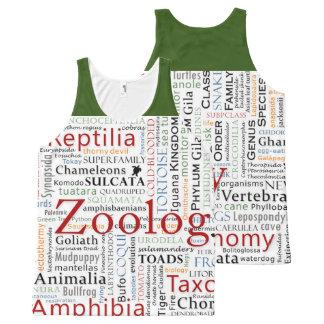 Herpetología en tipografía camiseta de tirantes con estampado integral