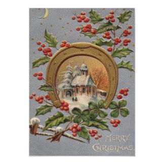 Herradura del oro del árbol de navidad del acebo invitación 12,7 x 17,8 cm