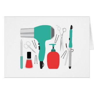 Herramientas de la cosmetología tarjeta