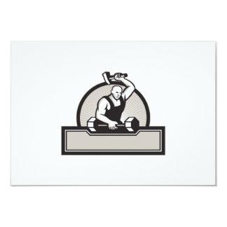 Herrero con el Barbell llamativo del martillo Invitación 8,9 X 12,7 Cm