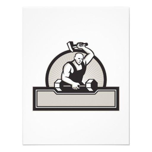 Herrero con el Barbell llamativo del martillo Comunicados Personalizados