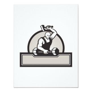 Herrero con el Barbell llamativo del martillo Invitación 10,8 X 13,9 Cm