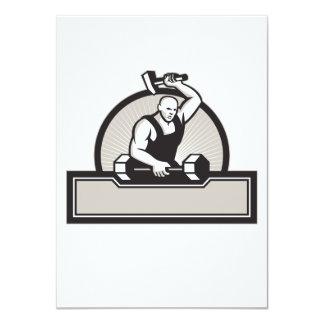 Herrero con el Barbell llamativo del martillo Invitación 11,4 X 15,8 Cm