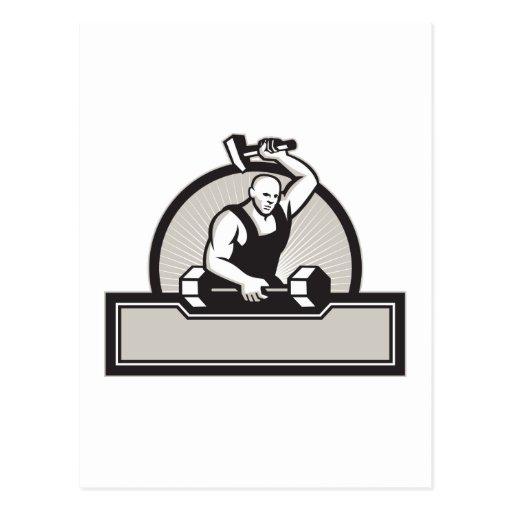 Herrero con el Barbell llamativo del martillo Tarjetas Postales
