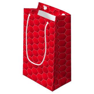 Hexágono geométrico rojo bolsa de regalo pequeña