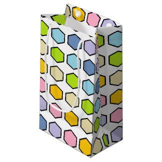 Hexágonos en colores pastel resumidos negro del bolsa de regalo pequeña