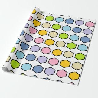 Hexágonos en colores pastel resumidos negro del papel de regalo
