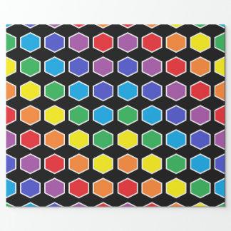 Hexágonos resumidos blanco del arco iris papel de regalo