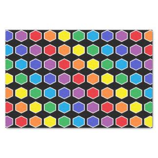 Hexágonos resumidos blanco del arco iris papel de seda