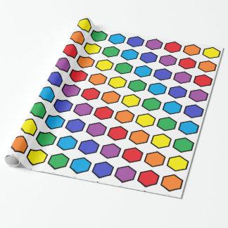 Hexágonos resumidos negro del arco iris papel de regalo