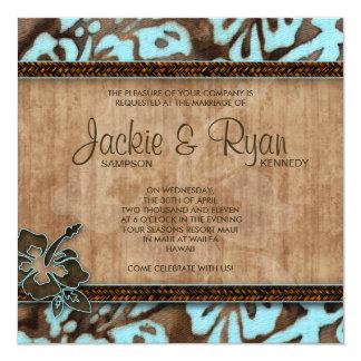 Hibisco Brown azul de la invitación del boda de Invitación 13,3 Cm X 13,3cm