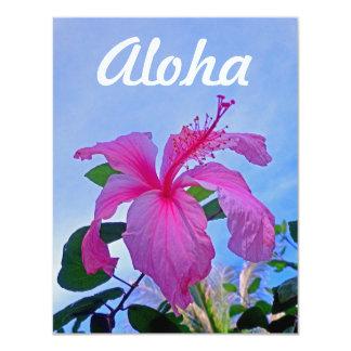 Hibisco de la hawaiana invitación 10,8 x 13,9 cm