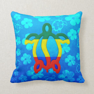 Hibisco del azul de Rasta Honu Cojin