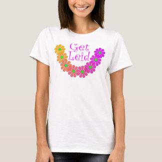 Hibisco floral de Luau de los leus coloridos de la Camiseta