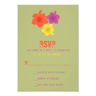 Hibisco hawaiano colorido que casa RSVP Invitación 8,9 X 12,7 Cm