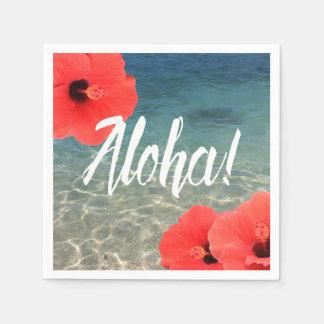 Hibisco hawaiano del boda de playa y hawaiana azul servilleta de papel