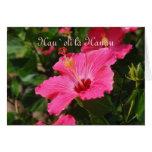 Hibisco rayado del rosa hawaiano del feliz cumplea tarjetas
