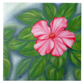 Hibisco rosado azulejo cuadrado grande