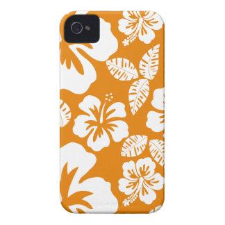 Hibisco tropical anaranjado oscuro iPhone 4 carcasas