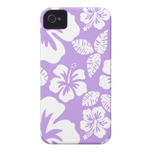 Hibisco tropical de la lavanda brillante Case-Mate iPhone 4 cárcasas