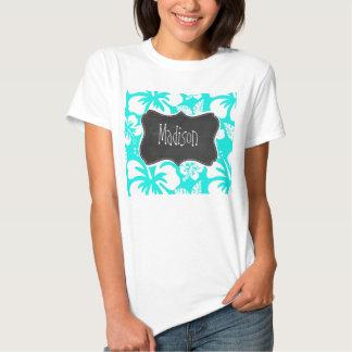Hibisco tropical de la turquesa brillante; Pizarra Camisetas