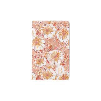 Hibisco tropical del melocotón del monograma cuaderno de bolsillo moleskine
