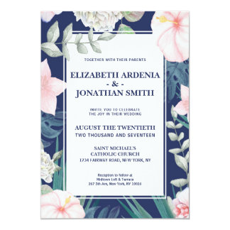 Hibisco tropical del rosa de la marina de guerra invitación 12,7 x 17,8 cm