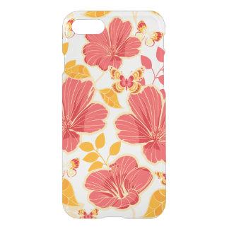 Hibisco tropical femenino y mariposas funda para iPhone 7