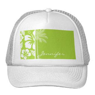 Hibisco tropical verde cítrico; Palma del verano Gorros Bordados