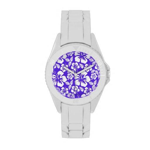 Hibisco tropical violeta azul relojes