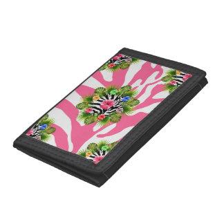 Hibisco tropical y rayas rosadas exóticas de la