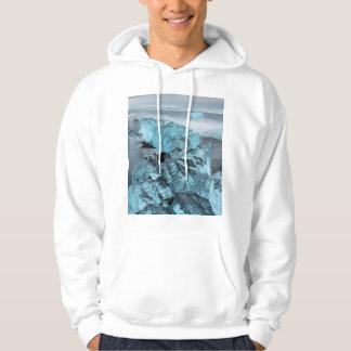 Hielo azul en paisaje marino de la playa, Islandia Sudadera