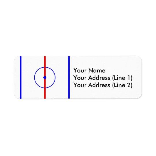 Hielo del centro del hockey y líneas azules etiqueta de remitente
