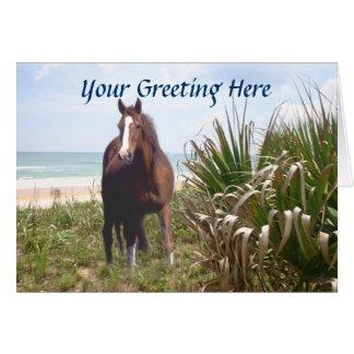 Hierba de la playa del caballo y tarjeta de