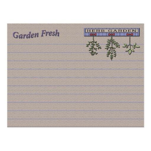 Hierbas de la tarjeta de la receta postales