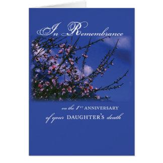 Hija, 1r aniversario de la conmemoración tarjeta de felicitación