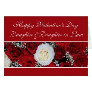 Hija Daugher en rosas rojos y blancos de la ley Tarjeta De Felicitación