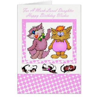 Hija del feliz cumpleaños, con los gatos tarjeta de felicitación