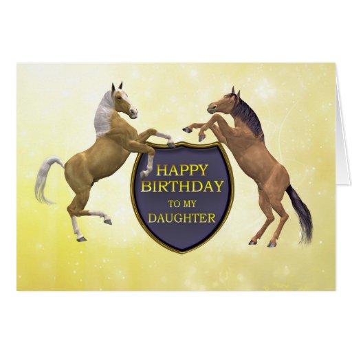 Hija, una tarjeta de cumpleaños con alzar caballos de Zazzle.