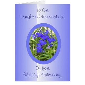 Hija y marido felices del aniversario de boda tarjeta de felicitación