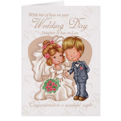 Hija y nueva tarjeta del día de boda del yerno con