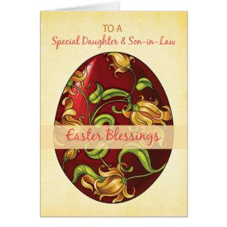 Hija y yerno, bendiciones de Pascua, huevo Tarjeta De Felicitación