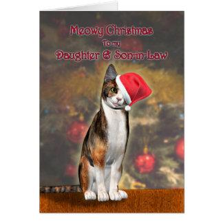 Hija y yerno, gato en un gorra del navidad tarjeta
