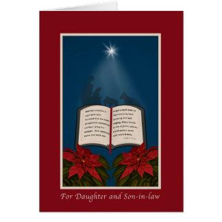 Hija y yerno, navidad abierto de la biblia tarjeta de felicitación
