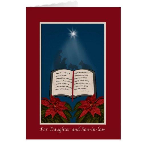 Hija y yerno, navidad abierto de la biblia felicitacion