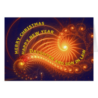 Hija y yerno, un deseo del navidad tarjeta de felicitación