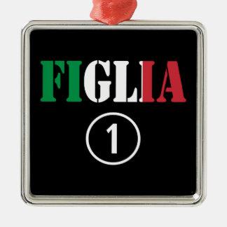 Hijas italianas: Uno de Figlia Numero Adorno Cuadrado Plateado