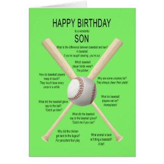 Hijo, chistes del béisbol del cumpleaños tarjeta de felicitación