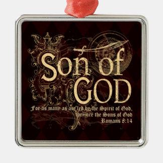 Hijo de dios, cristiano del 8:14 de los romanos adorno navideño cuadrado de metal