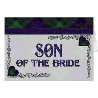 Hijo de la invitación de la novia - tartán de Arms Felicitaciones